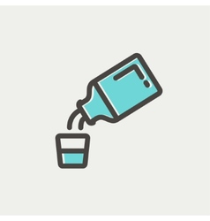 Medicine and measuring cup thin line icon vector image