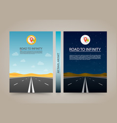 road to infinity cover night and day highway vector image vector image