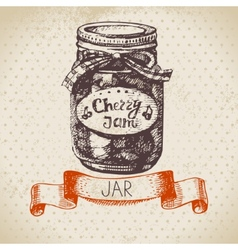 Rustic canning jar with cherry jam vector image vector image
