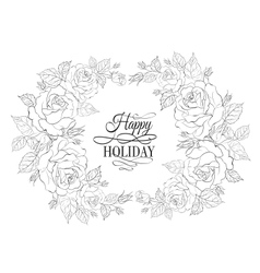 Silhouette of rose with sample text vector image vector image
