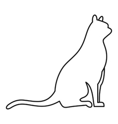 Sitting cat icon outline style vector image vector image