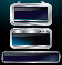 a set of chrome metallic labels vector image