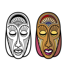 African mexican indian tribal masks isolated on vector