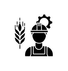 Agricultural engineer black glyph icon vector