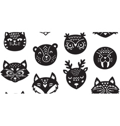 Animal paper cut seamless pattern vector image