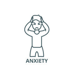 Anxiety line icon anxiety outline sign vector