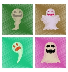 assembly flat shading style icons Halloween ghost vector image