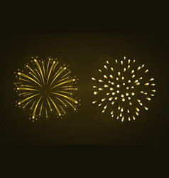 beautiful gold fireworks set vector image