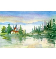 Beautiful watercolor summer river landscape vector