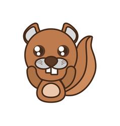 beaver baby animal kawaii design vector image