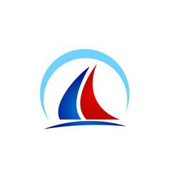 boat sail yacht beach logo vector image
