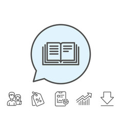 book line icon education symbol vector image