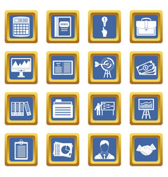 Business plan icons set blue vector