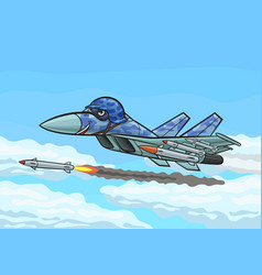 cartoon fighter fires a rocket vector image