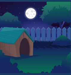 Cartoon night landscape with starry sky full moon vector