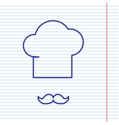 chef hat and moustache sign navy line vector image