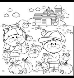 Children at the pumpkin field and farmhouse vector