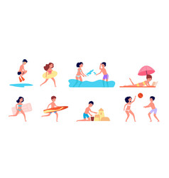 children on beach summer holiday kids playing vector image