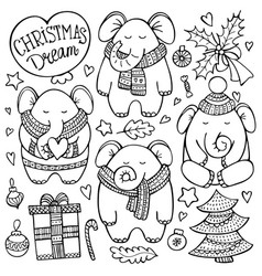 christmas doodle set with elephants vector image