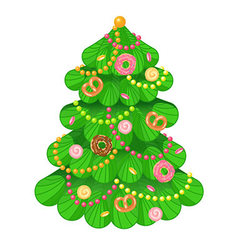Christmas tree with sweets and toys on white vector image