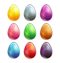 Colorful glossy metal eggs set vector image