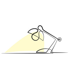continuous one line drawing lamp on table vector image