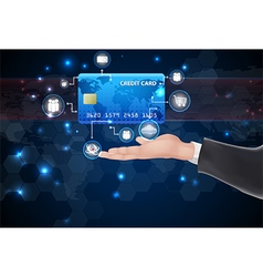 Credit cards symbol over hand vector image