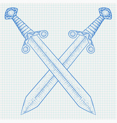 Crossed swords hand drawn white sketch on lined vector