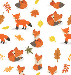 cute fox different poses leaves pattern vector image