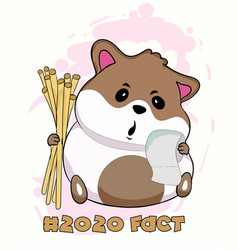 cute hamster with toilet paper vector image