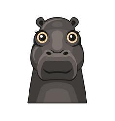 cute hippopotamus face icon cartoon hippo vector image