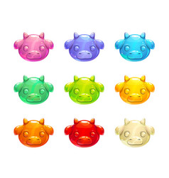 Cute jelly cow faces vector