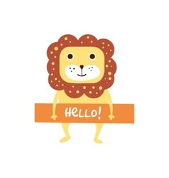 Cute lion with a sign for text vector image