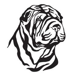 decorative portrait dog shar pei vector image