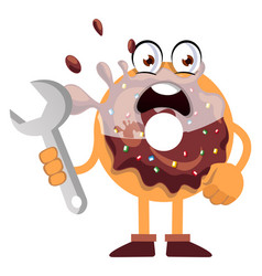 donut holding wrench on white background vector image