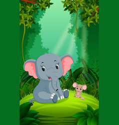 elephant and mouse in the clear and green forest vector image