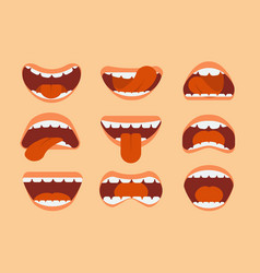 expressive cartoon human mouth with tongue and vector image