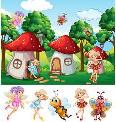 Fairies in fantasy world vector