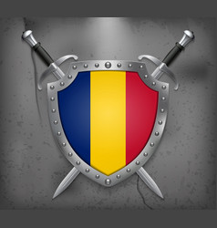 Flag of romania the shield with national flag vector