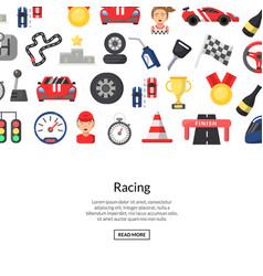 flat car racing icons background vector image