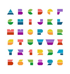flat colorful geometric shapes letters style font vector image
