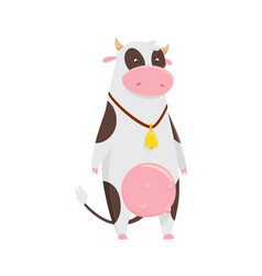 funny cow cartoon character happy cow vector image