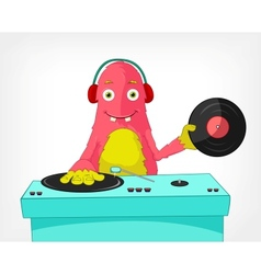 Funny Monster DJ vector