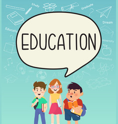 girls and boys pupils with education on vector image
