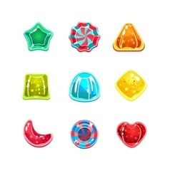 Glossy colourful candies various shapes vector