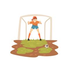 goalkeeper standing at gate on sport field soccer vector image