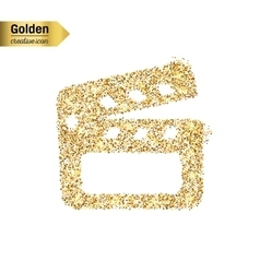Gold glitter icon of clapboard isolated on vector image