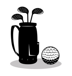 Golf sport clubs bag emblem icon vector