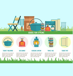Goods for picnic flat landing page template vector
