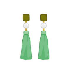 Green pearl earings fashion style item vector